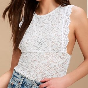 Free People Sure Thang Soft White Lace Tank Top